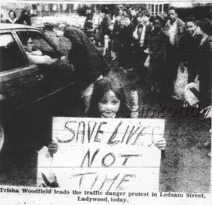 1981 a protest for a crossing after the death of my 6 year old brother, to make it safer for children to get to school