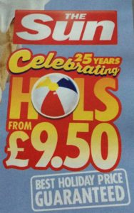 The Sun £9.50 Holidays January 2015