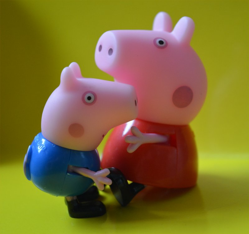 Peppa Pig and Little Brother George having a hug