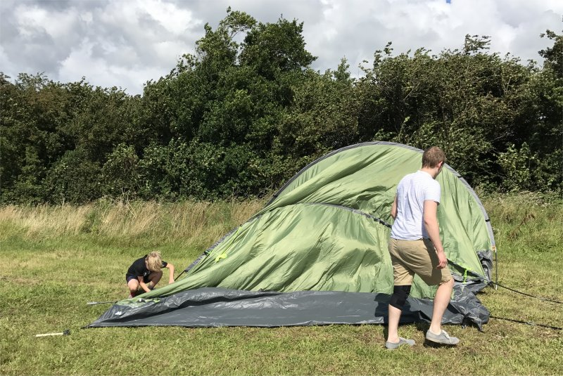 tent up in wind