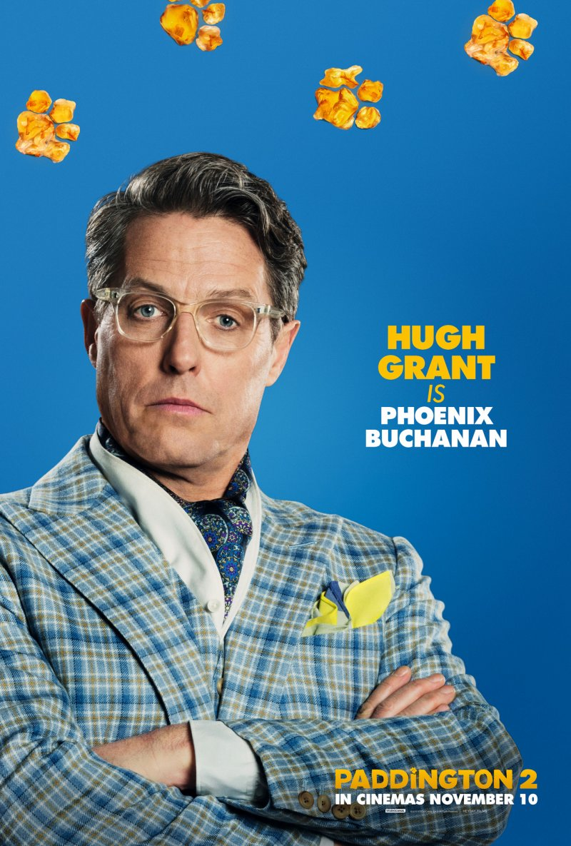 Hugh Grant Poster as Phoenix Buchanan the villain in Paddington 2