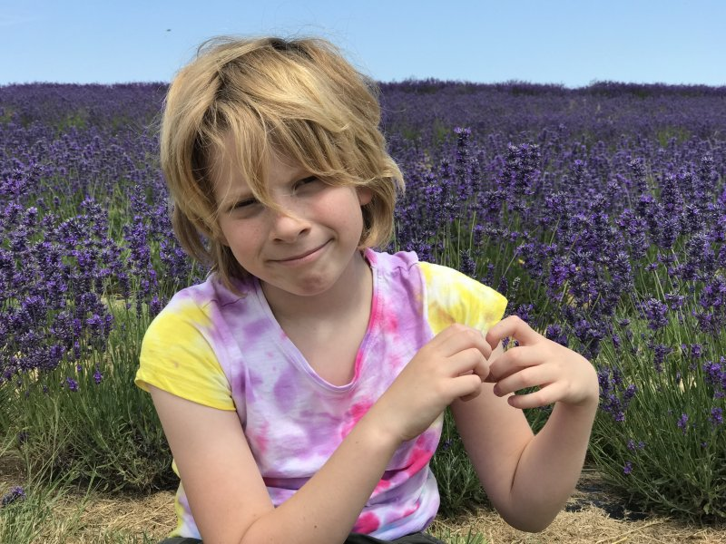 boy in tie dye in lavender field