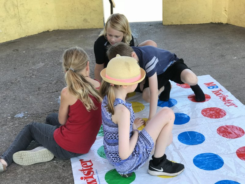 home educated children playing twister