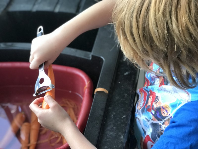 boy with speed peeler doing carrots