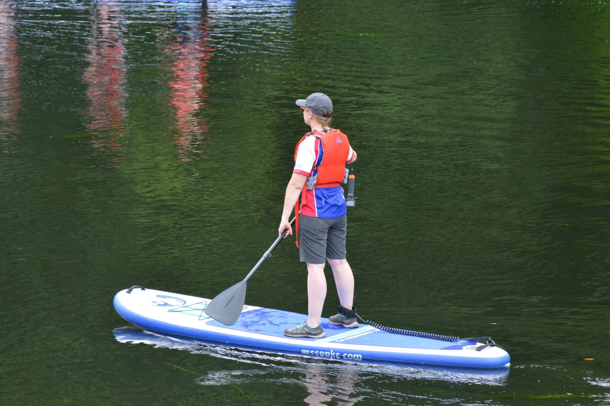 stand-up paddle boarding on the river