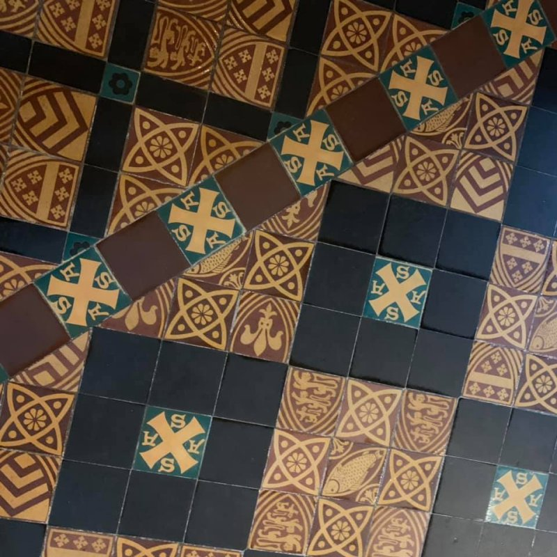 The floor in St Andrews Chapel at Gloucester Cathedral