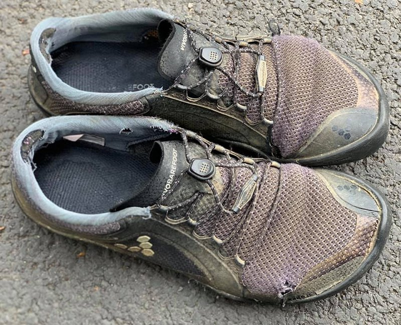 worn out vivobarefoot trail shoes