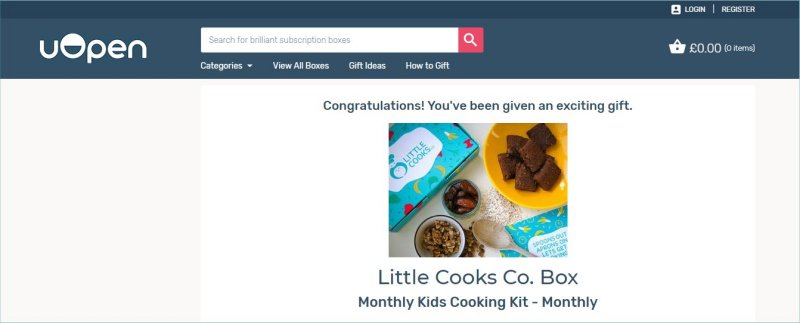 Little Cooks Co Subscription Box with uOpen