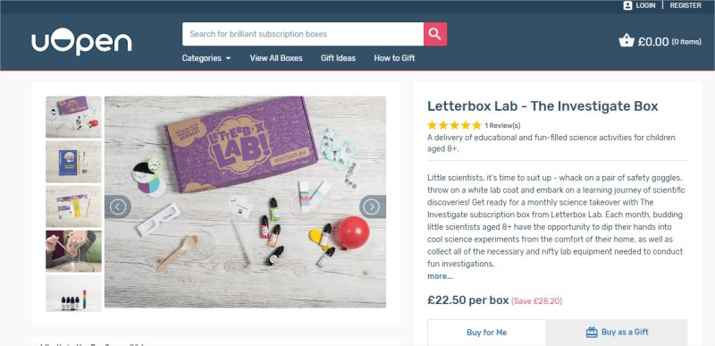 Letterbox Lab science subscription box with uOpen